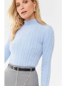 Fuzzy Ribbed Mock Neck Sweater by Forever 21