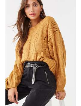 Cable Knit Boat Neck Sweater by Forever 21