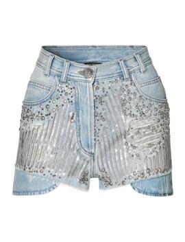 缀饰仿旧牛仔短裤 by Balmain