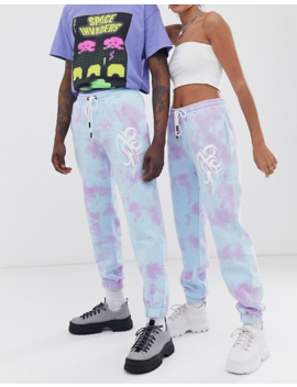 Collusion Unisex Tie Dye Sweatpants With Print by Collusion