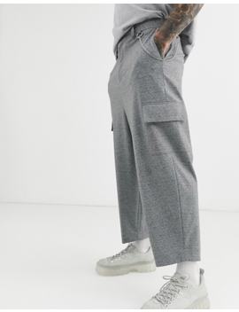 Asos Design Drop Crotch Tapered Smart Pants With Cargo Pockets In Gray And Metal Pocket Chain by Asos Design