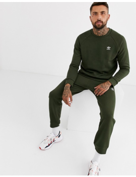 Adidas Originals Joggers With Logo Embroidery In Khaki by Adidas Originals