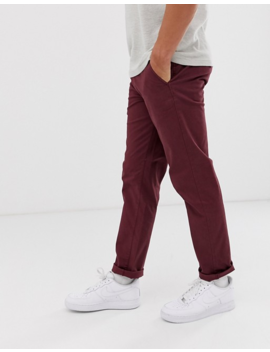 Selected Homme Straight Chino In Burgundy by Selected Homme