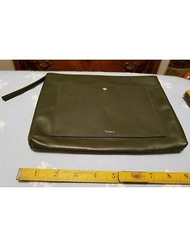 Theory~Linden Fatigue Green Leather Zip Top Large Clutch Wallet Purse~Nwt  Jw by Ebay Seller