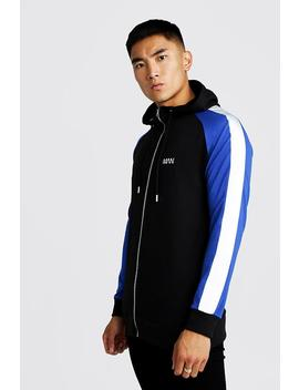 Man Longline Hoodie With Reflective Panels by Boohoo