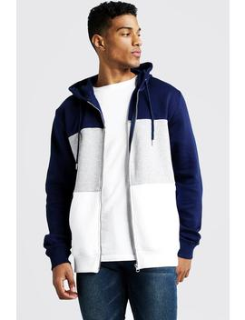 Colour Block Zip Through Hoodie by Boohoo