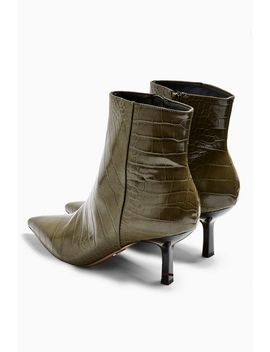 Maci Khaki Crocodile Pointed Boots by Topshop