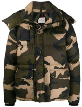 Camouflage Print Down Jacket by Moncler