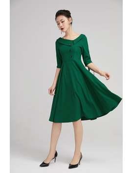 Vintage Geïnspireerde Swing Jurk, Womens Een Lijn Jurk, Groene Jurk, Pasvorm En Flare Jurk, Cocktail Jurk, Elegante Jurk 2227 # by Etsy