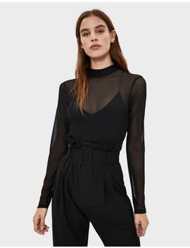 Bodysuit With Sheer Details by Bershka