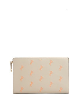 Embroidered Leather Zip Pouch by ChloÉ