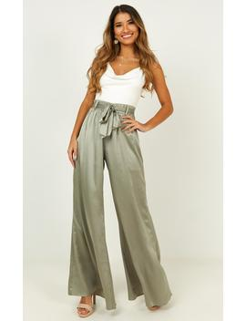 Egyptian Love Pants In Sage Satin by Showpo Fashion