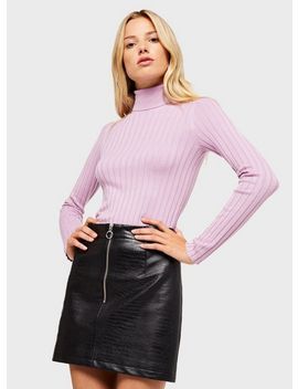 Lilac Rib Roll Neck Knitted Jumper by Miss Selfridge