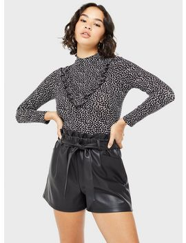 Petite Black Frill Bib Printed Jersey Top by Miss Selfridge