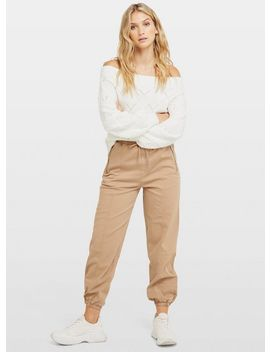 Stone Elastic Cuff Cargo Trouser by Miss Selfridge