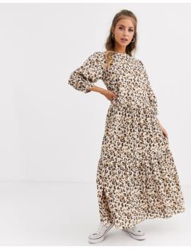 Asos Design   Vestito Lungo A Balze Con Stampa Leopardata by Asos Design