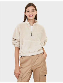 Faux Shearling Pouch Pocket Sweater Sweatshirts & Hoodies   Bershka Germany by Bershka