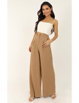 World Is On Fire Pants In Beige Linen Look by Showpo Fashion