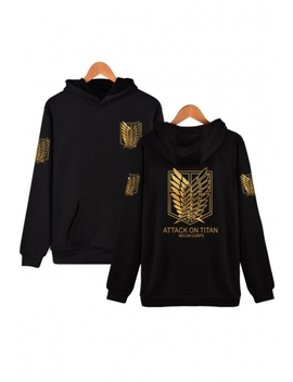 Attack On Titan Cool Wing Printed Casual Loose Fitted Pullover Hoodie by Beautiful Halo
