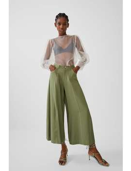 Cropped Trousers With Topstitching View All Trousers Trf by Zara