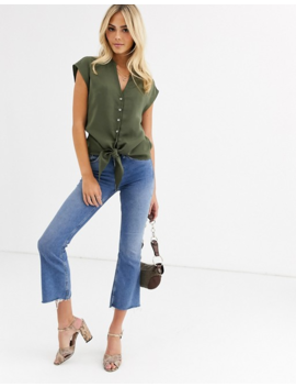 Oasis Shirt With Tie Front In Khaki by Oasis