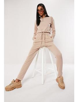 Cream Basic Jogger Co Ord by Missguided