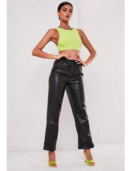 Sofia Richie X Missguided Black Faux Leather Joggers by Missguided