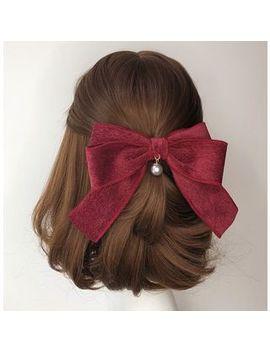 Twin Bear   Corduroy Bow Faux Pearl Hair Clip by Twin Bear