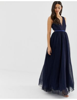 Dolly &Amp; Delicious Plunge Front Prom Maxi Dress In Navy by Dolly & Delicious