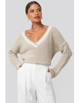 Contrast Rib V Neck Sweater Beige by Na Kd