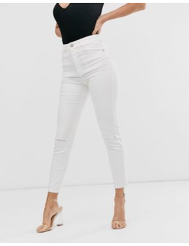 Asos Design Farleigh High Waisted Slim Mom Jeans With Rips And Raw Hem In Off White by Asos Design