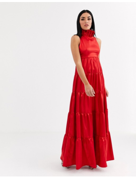 Flounce London Ruffle Neck Tiered Satin Maxi Dress In Red by Flounce London's
