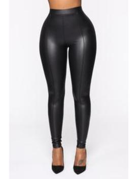 Teyana Leather Like Leggings   Black by Fashion Nova