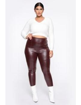 Teyana Leather Like Leggings   Burgundy by Fashion Nova