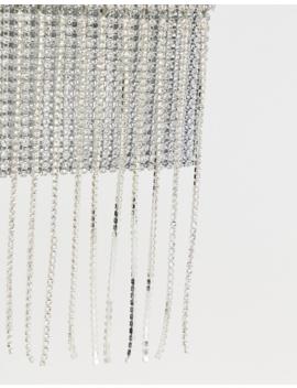 Asos Design Diamante Phone Pouch With Diamante Fringe by Asos Design