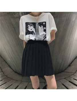 Moon City   Short Sleeve Printed T Shirt / Mini Pleated Skirt by Moon City