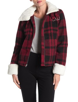 Faux Fur Trim Buffalo Plaid Print Jacket by Coffee Shop