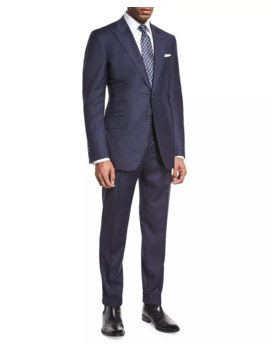 O'connor Base Windowpane Two Piece Suit, Navy/Gray by Tom Ford