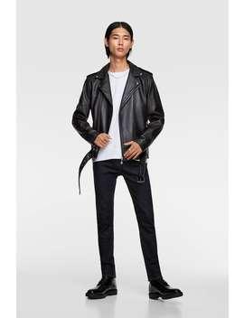 Leather Biker Jacket  Rebel Collectionman by Zara