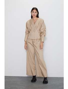 Poplin Blouse With Pleats  Blouses Shirts by Zara