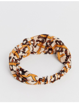 River Island Monnogrammed Hair Scarf In Cream by River Island