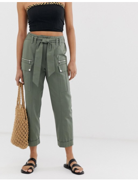 River Island Utility Pants With Tie Waist In Khaki by River Island