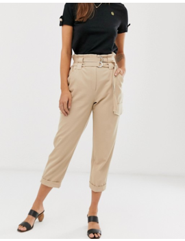 River Island Paperbag Utility Pants In Ecru by River Island