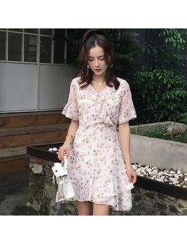 Efo   Floral Print Short Sleeve A Line Chiffon Dress by Efo