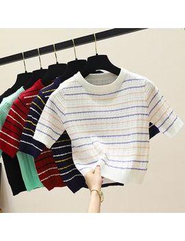 Enoki   Short Sleeve Striped Cropped Knit Top by Enoki