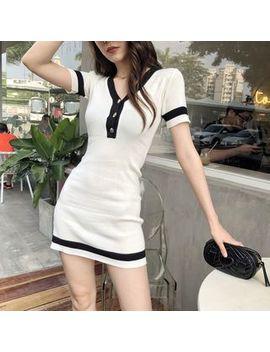 Konger   Contrast Trim Short Sleeve Mini Bodycon Dress by Konger