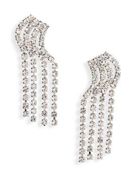 4 Row Linear Crystal Earrings by Cristabelle