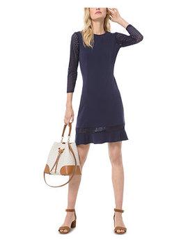 Mesh Sleeve Ruffle Hem Dress, Regular & Petite by General