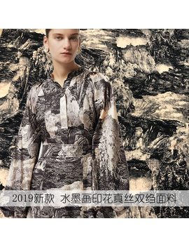 2019 New European And American Style Ink Painting Fabric 12mm Natural Silk Crepe De Chine Fabric Drss Skirt Shirt Diy Fabric by Ali Express.Com