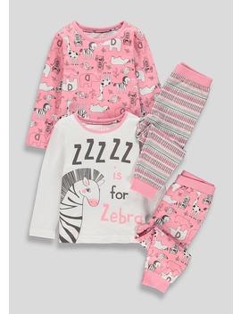 Kids 2 Pack Zebra Pyjamas (9mths 5yrs) by Matalan